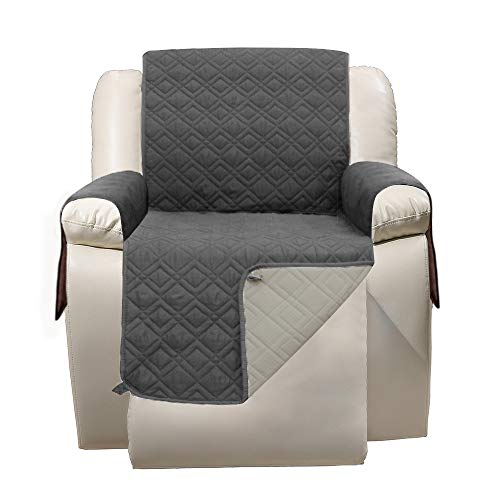 Recliner Chair Cover with Pockets Waterproof - RBSC Home Soft Lazy Boy Chair Covers for Pets Baby Dogs Cats Washable Multiple Choice Plus 1 Brush -  Gezi-recliner-darkgray