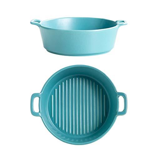 Bandeja para hornear de cerámica de 6 pulgadas, cuenco para pasta con asa para lasaña, hornear, sopa, fideos (azul)