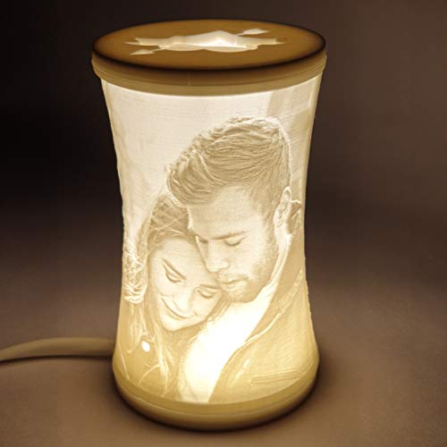 Personalized 3D Lithophane Lamp/Night Lamp for Home Decor and Gifts/Valentine's Gift (Warm White, XL)
