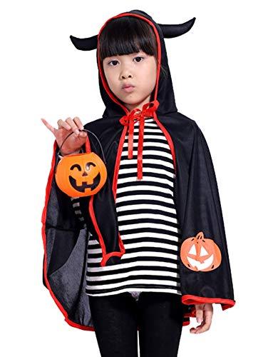 Happy Cherry Kinder Halloween Kapuzenumhang Cape mit Hörner Kostüm für Halloween Fasching Karneval Cosplay Maskerade - Schwarz