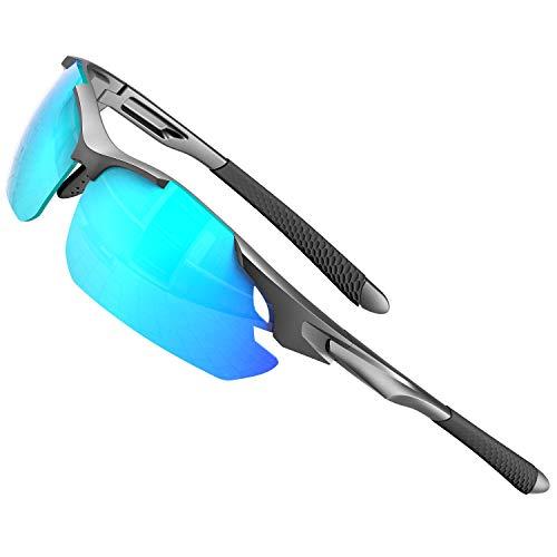 ATTCL Gafas de sol para hombre - Gafas de sol polarizadas deportivas mejoradas para mujer, ciclismo, conducción, pesca, protección UV, azul (Azul/Espejo.), Medium