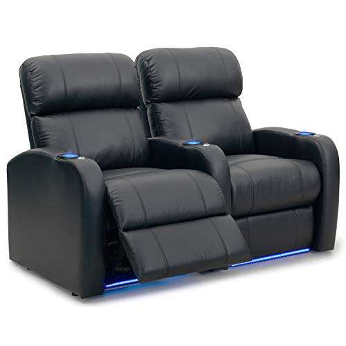 Octane Seating Diesel XS950 Theatre Chairs Black Premium Leather - Power Recline - Memory Foam - Accessory Dock - Straight Row 2 Seats