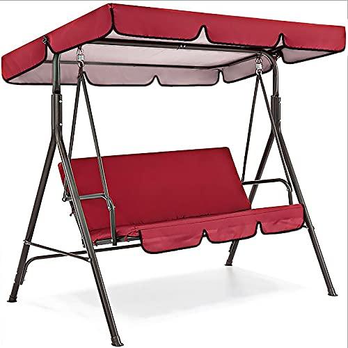 Gazaar 3 Seater Garden Swing Chair Hammock Bench,Outdoor Adjustable Roof Canopy Cushioned Seat Waterproof Cover Swings Glider for Patio Poolside Balcony