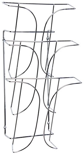 Set of 2, 3-Tier Wall-Mounted Magazine Rack for 8.5x11 Catalogs - Steel Wire, Chrome Finish