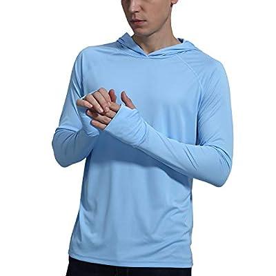 Men's UPF 50+ Sun Protection Hoodie Shirt Long Sleeve SPF Fishing Outdoor UV Shirt Hiking Lightweight ¡ Blue