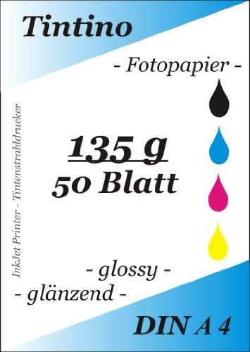 50 Blatt Fotopapier DIN A4 135g/qm high -glossy hoch-glaenzend -sofort trocken -wasserfest-hochweiß-sehr hohe Farbbrillianz, fuer InkJet Drucker Tintenstrahldrucker
