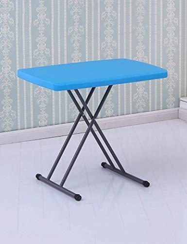 CENPEN Mesa de comedor plegable simple para el hogar, mesa de estudio, mesas de ordenador, mesas de picnic al aire libre, con altura ajustable, azul, 50 x 76 cm