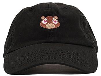 FGSS Mens Bear Print Adjustable Cotton Strapback Dad Hat Baseball Cap Black