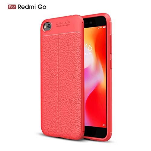 Qsdd Reemplazo para Xiaomi Redmi GO Funda Ultra Delgado Anti-Rasguños Carcasa de Telefono Soft TPU Silicone Anti-Huella Digital a Prueba de Golpes Caso-Rojo