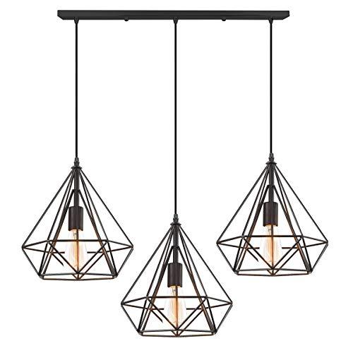 iDEGU 3 Lampes Suspension Luminaire Industrielle Lustre Rétro Plafonnier en Forme de Diamant en Métal Lustre Suspension pour salon salle à manger cuisine, 25cm, Noir