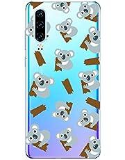 Oihxse Compatible con Huawei P40 Funda Cristal Silicona TPU Suave Ultra-Delgado Protector Estuche Creativa Patrón Protector Anti-Choque Carcasa Cover(Pereza A10)