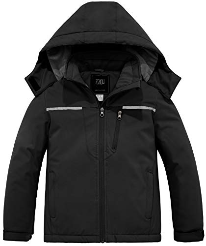 ZSHOW Girls' Ski Jacket Windproof Soft Fleece Lined Cotton Padded Winter Coat(Black,14-16)