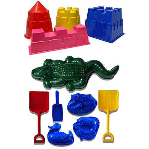 Back Bay Play 11 Piece Beach Toy Set for Boys and Girls - 4 Piece Assorted Sand Castle Molds Set & 7 Piece Assorted Sand Mold Set