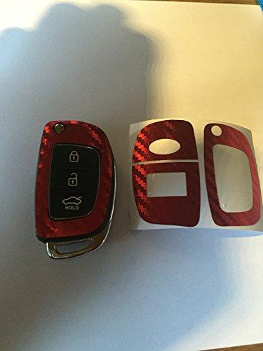 Carbon Chrom Gebürstet Glossy Folie Aufkleber Dekor Tuning Cover Schlüssel Key Hyundai i10 i20 i30 ix35 ix20 Elantra 2015 uvm (Chrom Rot)