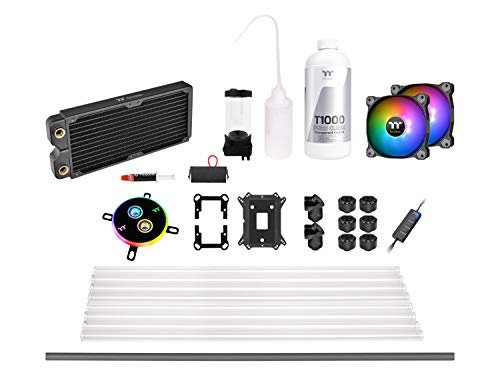 Thermaltake Pacific C240 DDC Hard Tube Water Cooling Kit/Sistema de refrigeración líquida, Color Negro