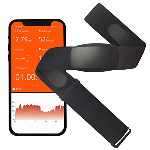 Heart Rate Monitor Chest Strap,Bluetooth 5.0 ANT+HR Sensor IP67 Waterproof,Real-Time Heart Rate Data and Running Dynamics, Perfect for Running, Cycling & Fitness Activity