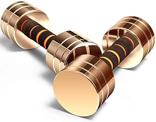 TGFVGHB Juego de mancuernas de fitness para levantamiento de pesas, antideslizante, ideal para culturismo, juego de 2 mancuernas (color dorado, tamaño: 2,5 kg x 2)