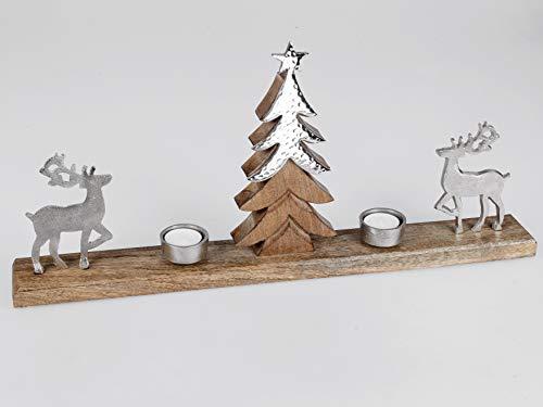 Geschenk-Himmel Kerzenhalter Hirsch mit Baum auf Mango - Holz und Alu Elemente für Teelicht