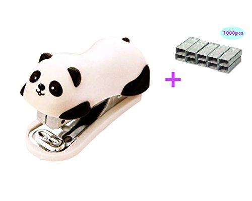 Yansanido Mini Cute Panda Small Desktop Stapler with 1000 No.10 Staples for Office School Home Travel and Best Cute Gift for Friends and Children(Panda)