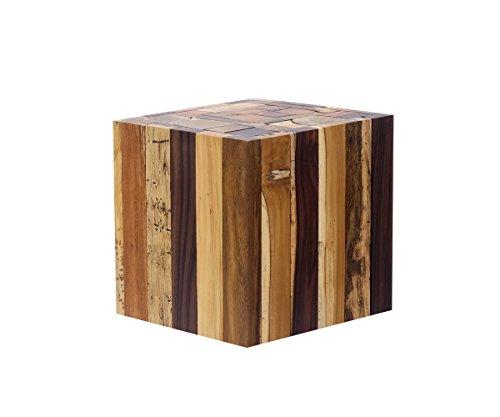 *Brillibrum Design Beistelltisch Holz Hocker aus Treibholz – Quadratisch Holzblock aus Mischholz massiv Ablage Blumenhocker (Tisch klein: 25,0cm x 30,0cm)*