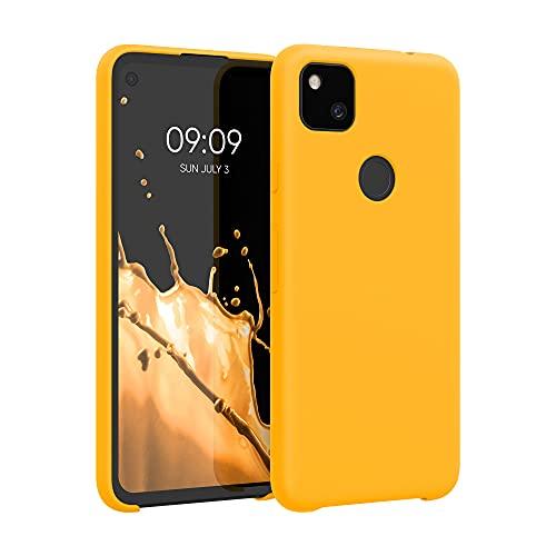 kwmobile Cover Compatibile con Google Pixel 4a - Cover Custodia in Silicone TPU - Back Case Protezione Cellulare Giallo Zafferano