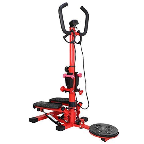 YLJYJ Máquina de Pasos aeróbicos Multifuncional, de un Solo Paso con apoyabrazos, Giro de Cintura para Perder Peso, glúteos, Adelgazamiento, Mancuernas, piernas, Equipos de Entrenamiento físico