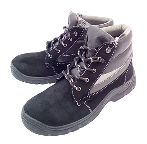 Powerfix Sicherheitsschuhe Arbeitsschuhe Schutzschuhe Halbschuhe Stiefel Leder Stahlkappe, Modell:Stiefel schwarz, Schuhgröße:42
