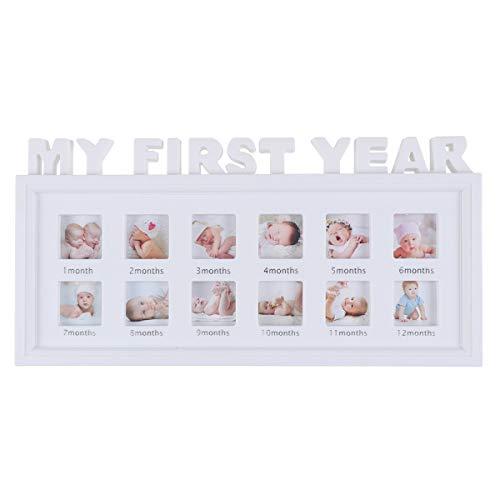 WINOMO My First Year Bilderrahmen 12 Collage Fotorahmen Erinnerung Baby Geburtsgeschenk 41 x 20 cm (weiß)
