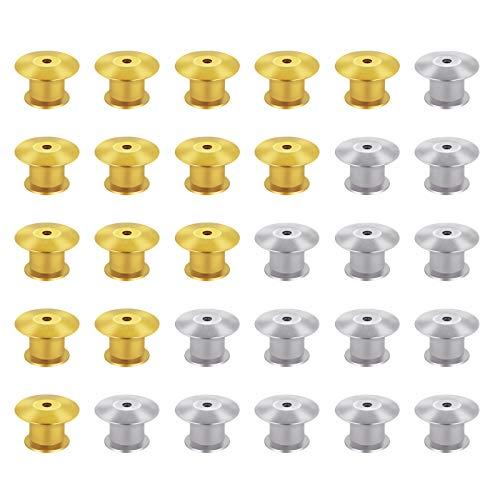 SEELOK Pasadores de Bloqueo 30pcs Seguros para Broches Sin Requieren Herramientas Pin Keepers Backs Imperdibles para Broches de Joyería Insignia Etiquetas de Nombre (oro y plata)