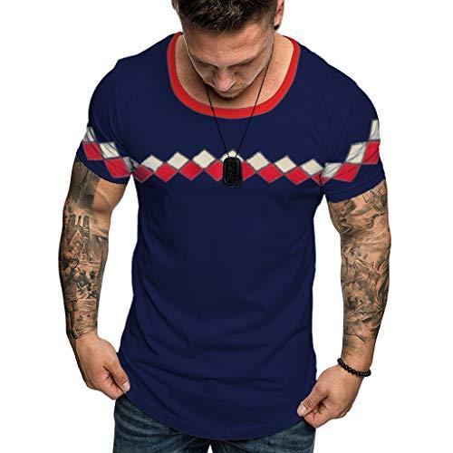 T-Shirt Blouse Tops Summer Fashion Casual Comfort Print Manica Corta da Uomo (XXL,1- Marina Militare)