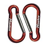 Master Lock 4673EURT Confezione da 2 Moschettone senza bloccaggio, Colore casuale, 5.2 x 2.3 x 0.4 cm