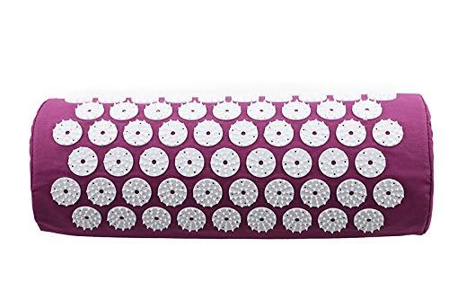 HONGGE Massager Cojín Masaje Yoga Mat Acupressure Aliviar el estrés Barrio Cuerpo Dolor Spike Mat Mat Acupuntura Mat (Color : Purple Pillow Only)