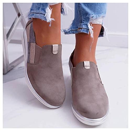 SHENGYAO Mocasines Casual Slip On Pump Zapatos de conducción de cuña Botines cómodos de Gran tamaño Zapatos de Trabajo Zapatos de Barco,Grey-42