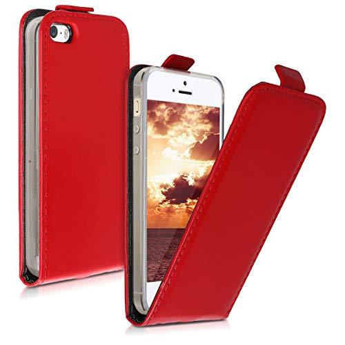 kwmobile Étui pour liseuse électronique Compatible avec Apple iPhone SE (1.Gen 2016) / 5 / 5S - Housse Protection Rouge