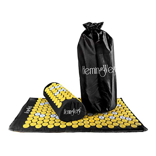 HemingWeigh Complete Acupressure Body Mat and Pillow Set with Bag for Neck Upper and Lower Back Pain Relief Black and Yellow