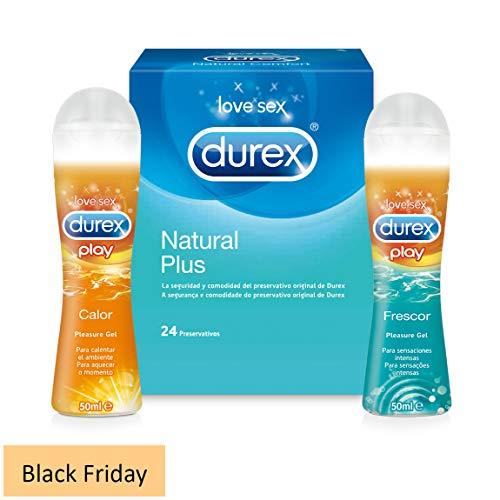 Durex Preservativos Comfort 24 Condones + Durex Lubricante Intimo Calor + Lubricante Sexual Frescor