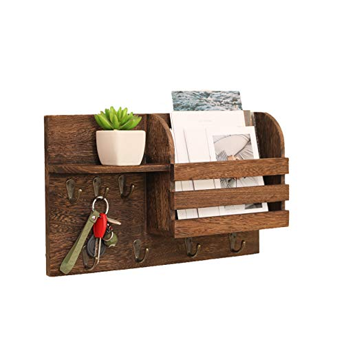 YCOCO Wall Mail Organizer Key Holder for Wall with 7 Key Hooks, Wall Mounted Mail Sorter Organizer,Coat Rack,Entryway Organizer,Home Decorative Floating Shelf,Brown