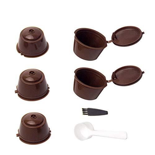 5 Piezas Cápsulas Filtros de Café con Cuchara y Cepillo Filtros de Café Recargable Reutilizable Filtro de Cápsula de Café para Dolce Gusto
