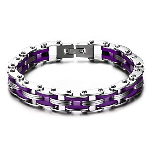 Fashion Month Mens Bike Chain Bracelet Stainless Steel Motorcycle Link Chain Bicycle Chain Silicone Bangles Purple