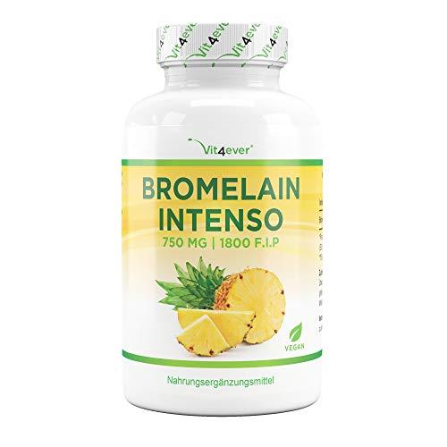 Bromelain Intenso - 750 mg (1800 F.I.P) - 120 capsules entériques (DRcaps®) - Enzyme digestive naturelle de l'extrait d'ananas - Testé en laboratoire - Végétalien - Fortement dosé