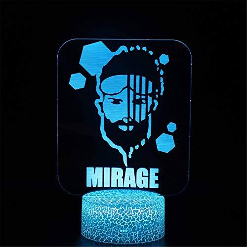 3D LED noche luz para niños Apex Legends Mirage ilusión Estado de ánimo lámpara con control táctil Navidad regalos de cumpleaños para niños