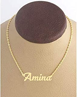 21K Gold Plated Necklace With Name Amina
