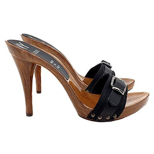 Kiara Shoes Zoccoli con Fascia Nera Tacco 12cm - Consegna in 24/48 Ore lavorative - 72 Ore Isole e cap remoti (Italia) - MY744-NERO (35 EU, Nero)