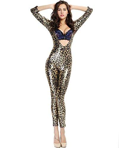 DuuoZy Damen Sexy Leder Leopard Overalls Catsuit Cosplay Kostüm Club Wear, f, Leopard Color