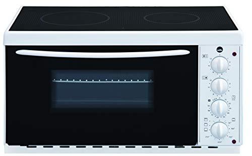 Minihorno Wilfa BRASE con placa de cocina - Con 2 potentes placas de cocina (1000 y 1500 vatios), 22 l, superficie cerámica para una fácil limpieza, blanca