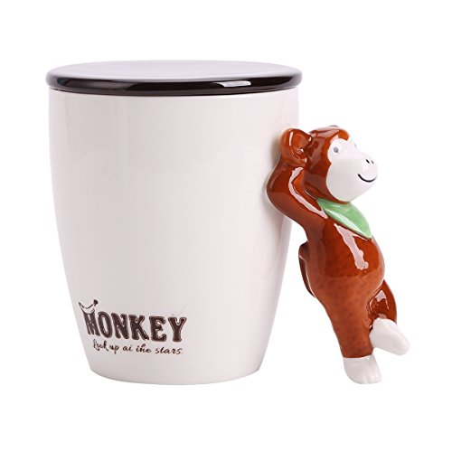 UPSTYLE Taza de cerámica 3D con diseño de animales de dibujos animados para café, leche, taza de té de cerámica con tapa y mango de animal para el hogar, oficina, tamaño 440 ml, mono