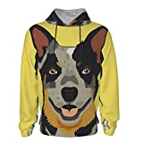 Australian Cattle Dog Hoodies For Teenager Midweight Sherpa Jacket Coat - Quilted Hood Lined Thick 3d