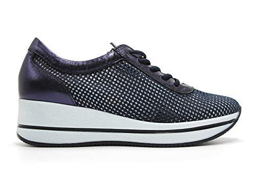 PITILLOS - Zapatos Sneakers de Piel con cordón elástico, de cuña, Suela Blanca de Goma, Rejilla, Calado, para: Mujer Color: Marino Talla:39