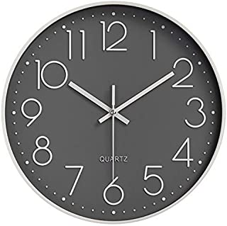 Modern Wall Clock Silent Non-Ticking Battery Operation Decorative Quartz Clock, Round Easy to Read Wall Clock for Living R...
