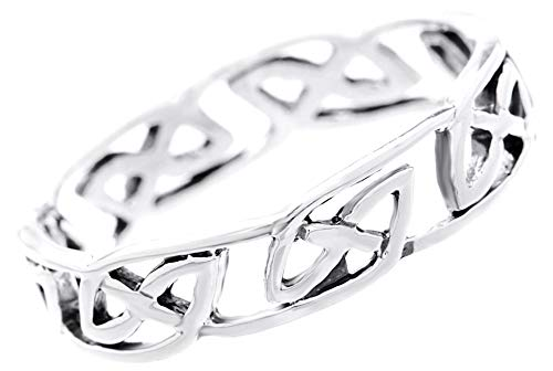 WINDALF Freundschafts Celtic Silberring ÂLAUNI 0.5 cm Keltischer Partnerring als Knotenband Vintage Midi-Ring Irischer Schmuck 925 Sterlingsilber (Silber, 46 (14.6))